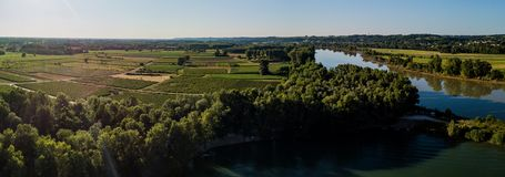 Aerial view Bordeaux Vineyard at sunrise. Film by drone in summer, Entre deux mers, Langoiran stock photography