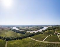 Aerial view Bordeaux Vineyard at sunrise, Entre deux mers, Langoiran, Gironde. France stock photo