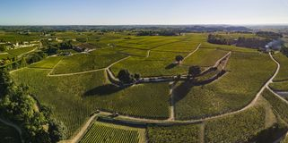 Aerial View, Bordeaux vineyards, Saint-Emilion, Gironde department, France royalty free stock image