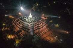 Aerial View Of Borobudur Temple At Night royalty free stock photos