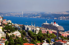Aerial view of Bosphorus bridge in Istanbul Royalty Free Stock Images
