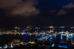Aerial view of the Bosphorus from the Galata Tower at night. Stock Photography