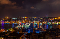 Aerial view of the Bosphorus from the Galata Tower at night. Royalty Free Stock Photography