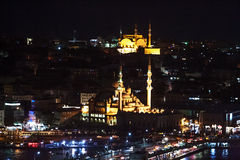 Aerial view of the Bosphorus from the Galata Tower at night. Stock Image