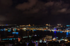 Aerial view of the Bosphorus from the Galata Tower at night. Royalty Free Stock Image