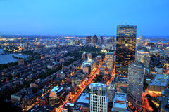 Aerial view of Boston at dusk Stock Photo