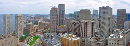 Boston Financial District Skyline, MA, USA Stock Photos