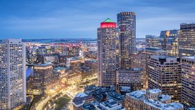 Aerial view of Boston in Massachusetts, USA stock photo
