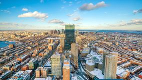 Aerial view of Boston in Massachusetts, USA at sunset Stock Photography