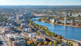 Aerial view of Boston skyline on a beautiful autumn day stock photos
