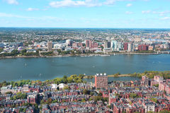 Aerial view of Boston skyline and Cambridge district separated b Royalty Free Stock Photos