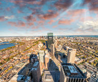 Aerial view of Boston skyline at sunset - MA - USA royalty free stock photo