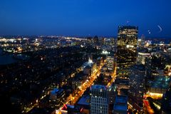 Aerial view of Boston after sunset Stock Photo