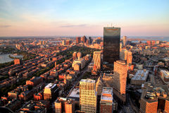Aerial view of Boston at sunset Royalty Free Stock Photography