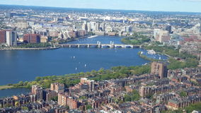 Aerial view of Boston. View of the Boston Harbor where the famous Tea Party occurred stock footage