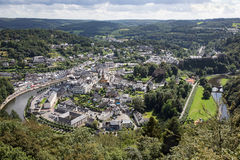 Aerial view Bouillon along river Semois in Belgian Ardennes Stock Photography