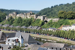 Aerial view Bouillon with medieval castle along river Semois in Stock Photo