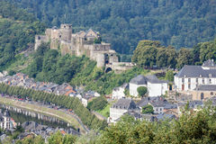Aerial view Bouillon with medieval castle along river Semois in Royalty Free Stock Image