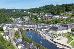 Aerial view Bouillon with pedalos in river Semois, Belgium Royalty Free Stock Image