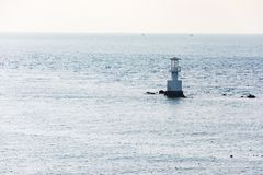 Aerial view of bouy floating in open sea. At Gulf of Thailand royalty free stock photography