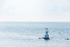 Aerial view of bouy floating in open sea. At Gulf of Thailand stock photo