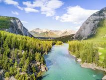 Aerial view of Bow river in Rockies Mountains, Banff National Pa. Aerial view of Bow river among canadian Rockies Mountains, Banff National Park, Alberta, Canada stock photo