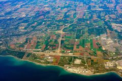 Aerial view of the Bowmanville area cityscape. At Canada stock photo