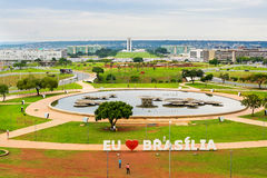 Aerial View of Brasilia, Capital of Brazil. Including National Congress building and I Love Brasilia (Eu Amo Brasilia) sign Royalty Free Stock Photography