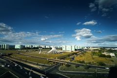 Aerial View of Brasilia`s Cathedral royalty free stock photos