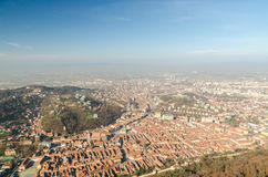 Aerial View Of Brasov City In The Carpathian Mountains royalty free stock photography