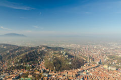 Aerial View Of Brasov City In The Carpathian Mountains stock image