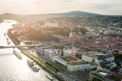 Aerial view of Bratislava city center, Slovakia Royalty Free Stock Photography