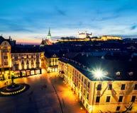 Aerial view of Bratislava, Slovakia at night Stock Photography