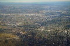 Aerial view of Brea and Fullerton, view from window seat in an a. Irplane at California, U.S.A Royalty Free Stock Images