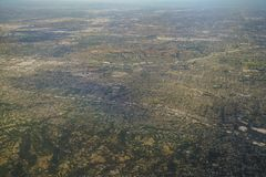 Aerial view of Brea, view from window seat in an airplane. At California, U.S.A Stock Photos