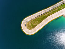 Aerial view of breakwater at sea, mole, pier, cutwater Royalty Free Stock Photos