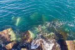 Aerial view of breakwater Royalty Free Stock Photo