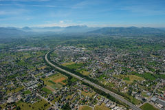 Aerial view of Bregenz, Dornbirn and Hard with Säntis mountain. In Switzerland Royalty Free Stock Images