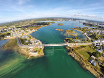 Aerial view on bridge across the river Etel, Brittany Stock Images