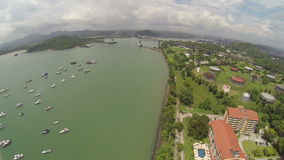 Aerial view of Bridge of the Americas across The Panama Canal stock video footage