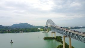 Bridge of The Americas across the Panama Canal. Aerial view of The Bridge of the Americas, a road bridge in Panama, which spans the Pacific entrance to the royalty free stock photography