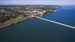 Aerial view Bridge of mato grosso state border with sao paulo st. Ate in Brazil stock images