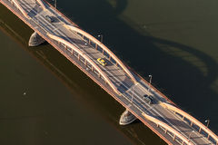 Aerial view of  bridge on Odra river in Wroclaw city Stock Photos