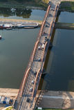 Aerial view of  bridge on Odra river in Wroclaw city Stock Image