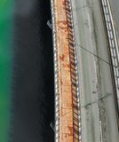 Aerial view of bridge over Cancun lagoon stock images