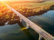 Aerial view of bridge over Don river in Voronezh, autumn landscape from above view with highway road and car transportation Stock Image