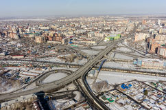 Aerial view on bridge over railways. Tyumen. Russia Royalty Free Stock Photography