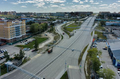 Aerial view on bridge over railways. Tyumen. Russia Royalty Free Stock Images