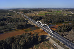 Aerial view of the bridge over the river Odiel. Aerial view of the highway bridge over the river Odiel Royalty Free Stock Photo