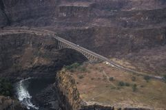 Aerial view of the bridge over the Zambesi river at Victoria Falls stock image